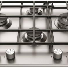 Plita Hotpoint Ariston Gaz 4 arzatoare wok gratare din fonta integrata Inox - Plita incorporabila Hotpoint, Argintiu, Numar arzatoare: 4