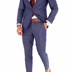 Costum barbati albastru - sacou + pantaloni - casual office - 8863, Marime: 44, 46, 48, 50, 52, 54, 56, Culoare: Din imagine