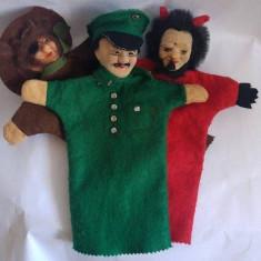 Lot 3 marionete teatru de papusi, papusa pe mana, deosebite, vintage, de fetru - Jucarii plus