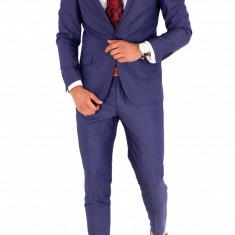 Costum barbati albastru - sacou + pantaloni - casual office - 8862, Marime: 44, 46, 48, 50, 52, 54, 56, Culoare: Din imagine