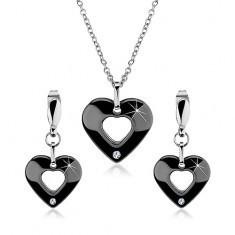 Set de colier și cercei din oțel 316L, inimă din ceramică, decupaj și zirconiu - Colier inox