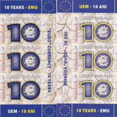Romania 2009, Lp 1825, 10 Ani Moneda Euro MINISHEET + MINISHEET FOLIO AUR, MNH. - Timbre Romania, Istorie, Nestampilat