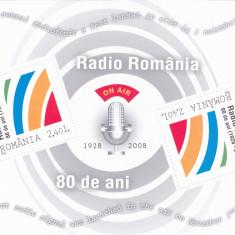 ROMANIA 2008 LP 1820 a 80 ANI EXISTENTA SOC. ROMANA RADIODIFUZIUNE COLITA MNH