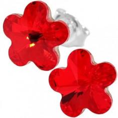 Cercei cu cristale swarovski rosii Flower f 10 surub - Cercei Swarovski