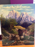 PICTURA MARE IMPRESIONANTA PEISAJ Tirol 116 x 96 cm, Natura, Ulei, Realism