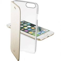 Husa Flip Cover Cellularline CLEARBOOKIPH747H Agenda Clear Auriu pentru Apple iPhone 7 - Husa Telefon