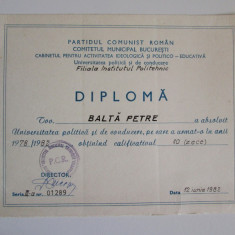 Diploma PCR-Universitatea politica si de conducere, filiala IPB 1982 - Diploma/Certificat