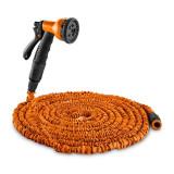 WALDBECK WATER WIZARD 22, furtun de grădină flexibil, 8 funcții, 22.5 m, culoare portocalie
