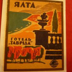 Vigneta Turistica - Hotel Taurida -Ialta URSS, dim. 8, 2x10, 2 cm - Reclama Tiparita