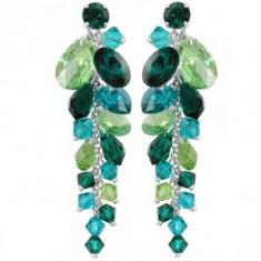 Cercei cu cristale swarovski Emerald-Peridot-BlZirc Waterfall 6, 6 cm - Cercei Swarovski