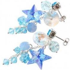 Cercei cu cristale swarovski bleu Diva 4, 5 cm surub - Cercei Swarovski