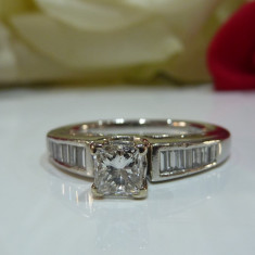 Inel logodna platina si diamante 1.10ct - Inel platina