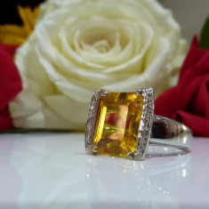Inel safir si diamante 6.55ct - Inel aur alb
