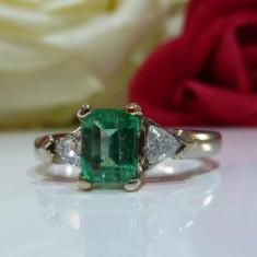Inel smarald si diamante 2.31ct - Inel aur, Carataj aur: 14k, Culoare: Galben