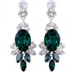 Cercei cu cristale swarovski emerald Oval Crowned Layla 5, 8 cm - Cercei Swarovski