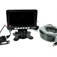 Sistem kit monitor senzor parcare + camera 12V-24V cablu 22m COD: 8828 - Monitor Auto
