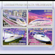 Sao Tome, trenuri, locomotive de mare viteza, 2009, bloc, MNH** - Timbre straine, Nestampilat