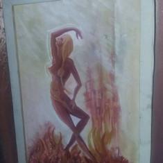 Tablou vechi pictat pe panza,pictura vintage pe panza ,,TENTATIA,,Tp.GRATUIT, Nud, Ulei, Abstract