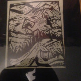 Tablou schita veche - Semnat Erich Heckel 1914 - Tablou autor neidentificat, Scene gen, Cerneala, Altul