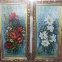 Tablou vechi,pictura vintage FLORI ,pictura nesemnata Superba,tablouri pereche