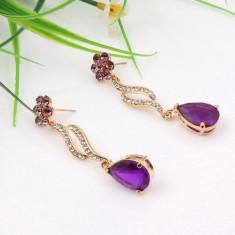 Cercei fashion cu cristale violet