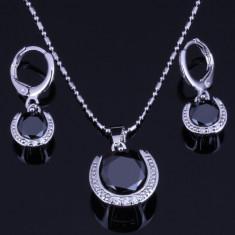Bijuterii argint placat Black Onyx White - Set bijuterii handmade si fashion