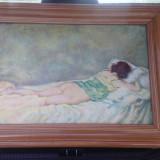 """Tablou vechi ulei - """" Nud intins in pat """" - Semnat Kimon Loghi - Tablou autor neidentificat, Scene gen, Cerneala, Altul"""