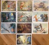 "10 carti postale necirculate cu Buratino 1955 A. Tolstoi ""Cheia de aur"", Necirculata, Printata, Rusia"