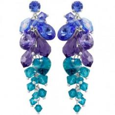 Cercei cu cristale swarovski Sapphire-Tanzanite-BlZircone Waterfall 6, 1 cm - Cercei Swarovski