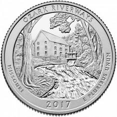 SUA/USA 2017-P Missouri Ozark National Scenic Riverways Park Quarter, America de Nord