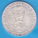 (2) MONEDA DIN ARGINT AUSTRIA - 50 SCHILLING 1972, 350 ANI UNIVERSITATEA SALZBURG, Europa