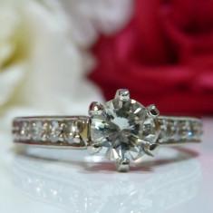 Inel logodna paladium si diamante 0.90ct - Inel de logodna