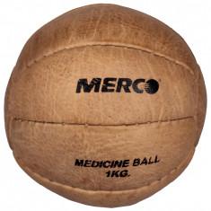 Leather Medicine Ball piele naturala, fabricata manual 4 kg - Minge Fitness Merco, Minge medicinala