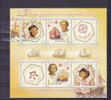 ROMANIA 2005 , LP 1691b , 50 ANI PRIMELE TIMBRE EUROPA- CEPT  BLOC DANTELAT MNH, Nestampilat