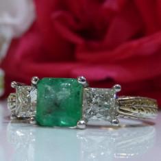 Inel smarald si diamante 1.66ct - Inel aur, Carataj aur: 14k, Culoare: Alb
