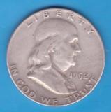 (4) MONEDA DIN ARGINT SUA - HALF DOLLAR 1952, LIT. D, BEN FRANKLIN, America de Nord
