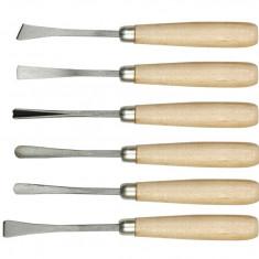 Set 6 dalti curbate maner lemn 160 mm VOREL
