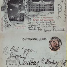 Cernauti, Bucovina - litografie -editura Leon Konig 1898 - Carte Postala Bucovina pana la 1904, Circulata, Printata