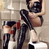 Overkness Latex Look - Lenjerie sexy femei, Marime: S, Negru