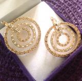 Cercei placati cu aur galben 18k si cristale zirconia + CUTIE CADOU