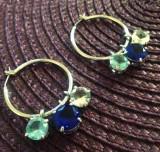 Cercei swarovski albastrii-rotunzi placati cu aur ALB 18k si cristale