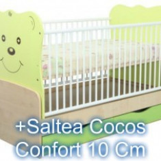 Patut Transformabil Teddy Natur-Vernil+Saltea 10Cm - Patut lemn pentru bebelusi MyKids