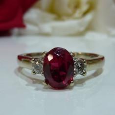 Inel rubin si diamante 1.85ct - Inel aur, Carataj aur: 14k, Culoare: Galben