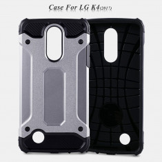 Husa LG K4 2017 - Hybrid Stand Bonus Folie Ecran - Husa Telefon LG, Gri, Gel TPU