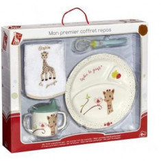 Primul meu set pentru masa melamina Girafa Sophie & Kiwi cutie cadou - Vulli