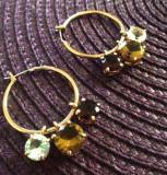 Cercei swarovski rotunzi placati cu aur  18k si cristale zirconia