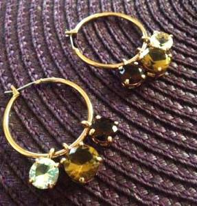 OFERTA -Cercei swarovski rotunzi placati cu aur  18k si cristale zirconia