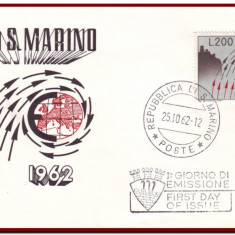 San Marino 1962 - FDC Europa, organizatii, plic prima zi, Organizatii internationale