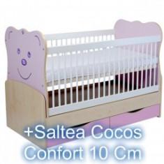 Patut Transformabil Teddy Natur-Mov+Saltea 10Cm - Patut lemn pentru bebelusi MyKids