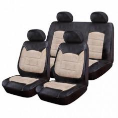 Huse Scaune Auto Fiat Albea Luxury Negru-Crem 9 Bucati - Husa scaun auto